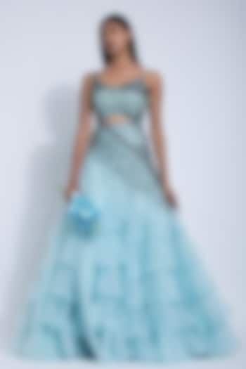 Powder Blue Embroidered Layered Gown by Dhwaja