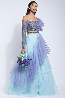 Powder Blue & Lavender Embroidered Gown by Dhwaja