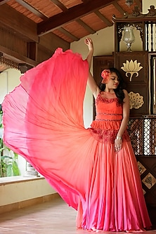 Coral & Pink Ombre Lehenga Set by Dhwaja