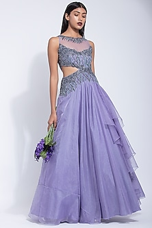 Lavender Embroidered Gown by Dhwaja