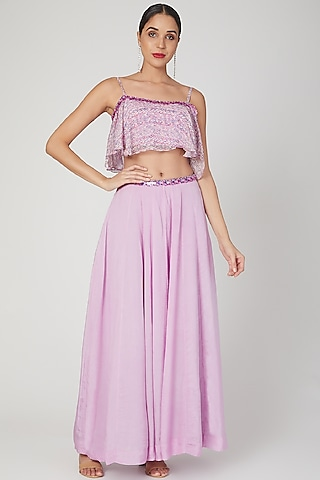 Lilac Embroidered & Printed Skirt Set by Dhwaja