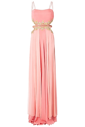 Rose Pink Cut Out Embroidered Gown by Dhwaja