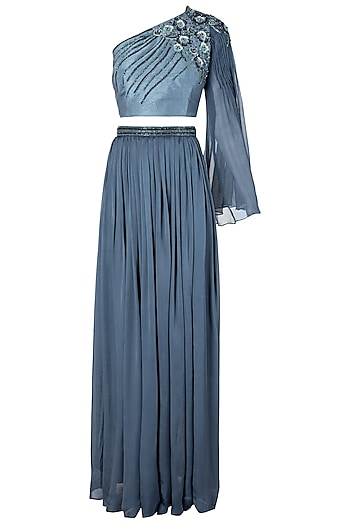 Polo Blue Embellished One Shoulder Top with Pleated Skirt by Dhwaja