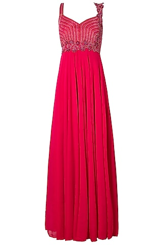 Magenta Embellished Gown by Dhwaja