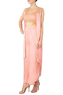 Peach Embroidered Crop Top with Pants and Jacket by Dhwaja