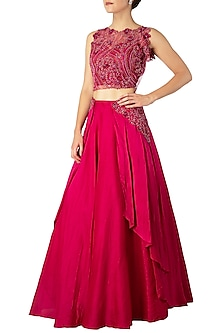 Magenta Embroidered Crop Top with Skirt by Dhwaja