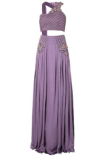 Dark Lilac Embellished Crop Top with High Waisted Skirt by Dhwaja