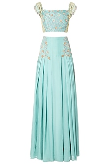 Mint Green Embroidered Lehenga Set by Dhwaja