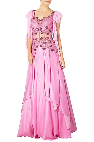 Rose Pink Embroidered Gown by Dhwaja