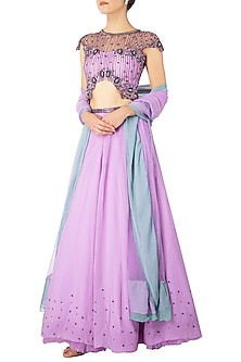 Lilac Embroidered Lehenga Set by Dhwaja