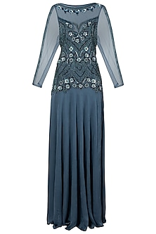Polo Blue Embroidered Gown by Dhwaja