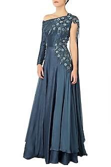 Polo Blue Off Shoulder Embroidered Gown by Dhwaja
