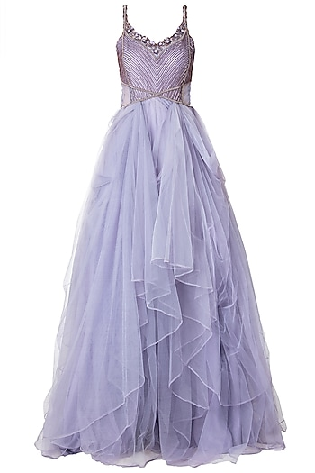 Lilac Embroidered Gown by Dhwaja