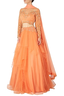 Peach Embroidered Lehenga Set by Dhwaja