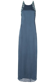 Polo Blue Embellished Cross Back Gown by Dhwaja