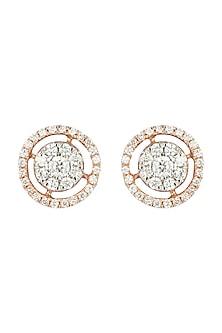 Rose Gold Diamond Stud Earrings by Diai Designs