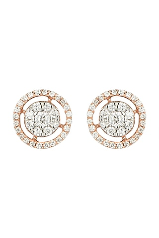 Rose Gold & Lab Grown Diamond Stud Earrings by Diai Designs