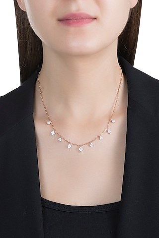 Rose Gold & Lab Grown Diamond Necklace by Diai Designs