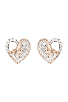 Rose Gold Diamond Heart Stud Earrings by Diai Designs
