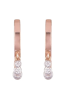 Rose Gold & Lab Grown Diamond Mini Dangler Earrings by Diai Designs