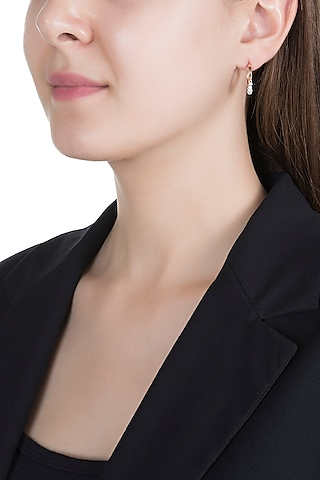 Rose Gold & Lab Grown Diamond Mini Dangler Earrings by Diai Designs