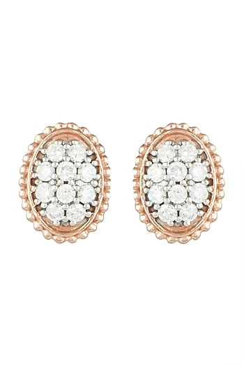 Rose Gold Diamond Statement Stud Earrings by Diai Designs