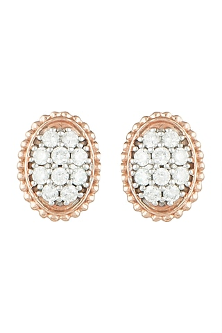 Rose Gold & Lab Grown Diamond Statement Stud Earrings by Diai Designs