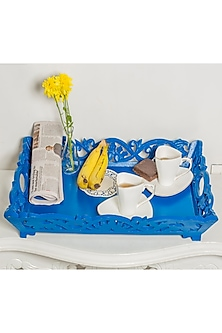Wooden Vintage Blue Tray by I Heart Homez