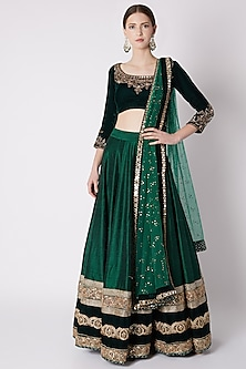 Emerald Green Antique Gold Embroidered Lehenga Set by Disha Kahai