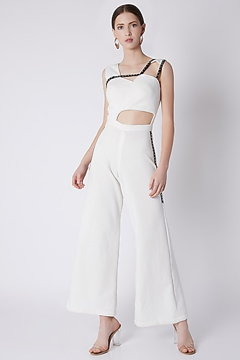 Ivory Studs Embroidered Jumpsuit by Disha Kahai