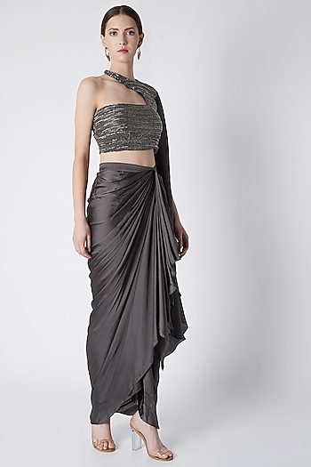 Silver Dhoti Skirt With Embroidered Blouse by Disha Kahai