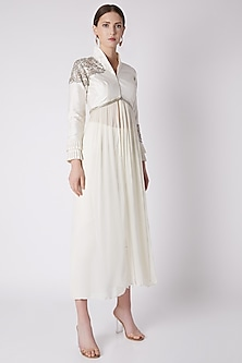 White Embroidered Jacket With Trousers by Disha Kahai