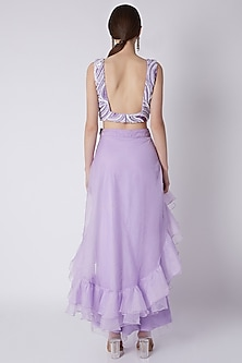 Lilac Embroidered Ruffled Gown by Disha Kahai