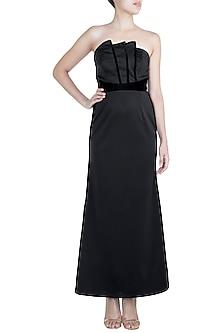 Black Scuba & Velvet Gown by Disha Kahai