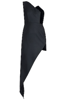 Black Asymmetrical One Shoulder Dress by Disha Kahai