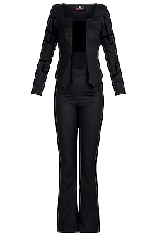 Black Studded Jacket Top With Pants by Disha Kahai