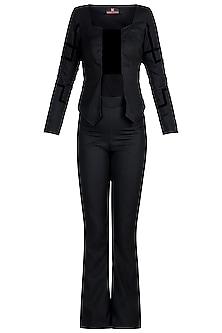 Black Studded Jacket Top With Pants by Disha Kahai