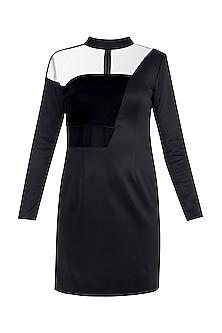 Black Velvet Collar Dress by Disha Kahai