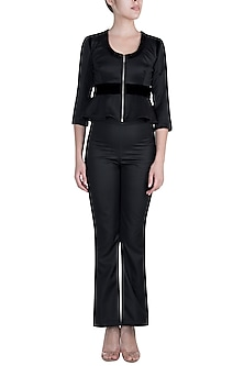 Black Zipper Jacket by Disha Kahai