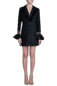 Black Frill Blazer Dress by Disha Kahai