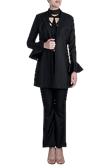 Black Open Blazer Jacket by Disha Kahai