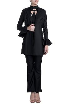 Black Open Blazer Jacket by Disha Kahai