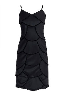 Black Velvet Scallop Dress by Disha Kahai