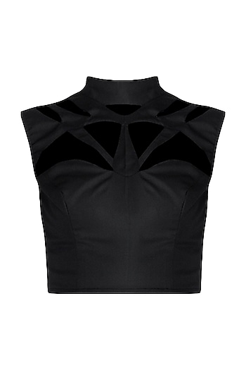Black Cut-Out Top by Disha Kahai