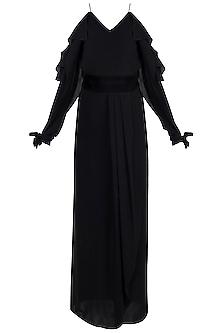 Black Front Slit Gown With Velvet Belt by Disha Kahai
