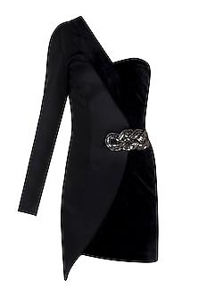 Black One Shoulder Blazer Dress With Embroidered Brooch by Disha Kahai