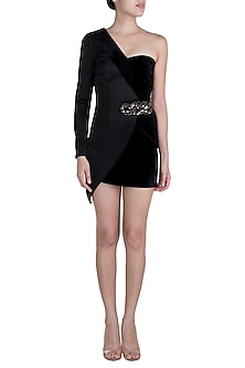 Black One Shoulder Blazer Dress With Embroidered Brooch by Disha Kahai