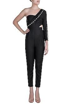 Black One Shoulder Blazer Jumpsuit by Disha Kahai