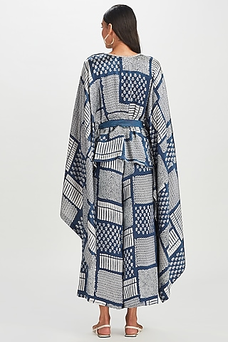 Indigo Blue Embroidered Cape With Belt by Divyam Mehta