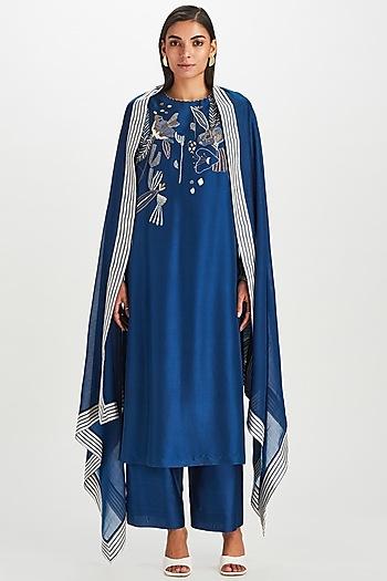 Indigo Blue Kantha Embroidered Kurta Set by Divyam Mehta